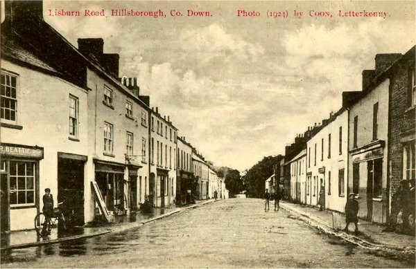 Lisburn Street Hillsborough on a 1924 Postcard by Coon, Letterkenny